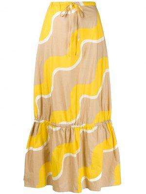 Расклешенная юбка с принтом Chinti and Parker. Цвет: нейтральные цвета