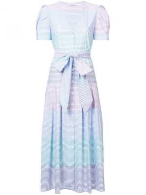 Платье длины миди в полоску Petersyn. Цвет: синий