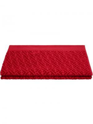 Пляжное полотенце с логотипом Fendi. Цвет: красный