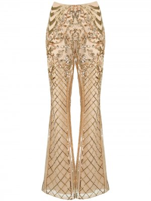 Расклешенные брюки с пайетками Zuhair Murad. Цвет: золотистый