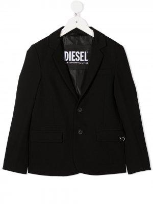Однобортный пиджак Diesel Kids. Цвет: черный