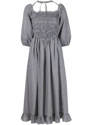 Платье миди Beeper в клетку гингем Sandy Liang. Цвет: черный