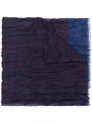 Шарф с рисунком John Varvatos. Цвет: синий