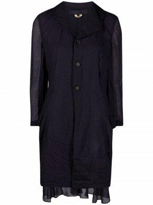Многослойное однобортное пальто Comme Des Garçons. Цвет: синий