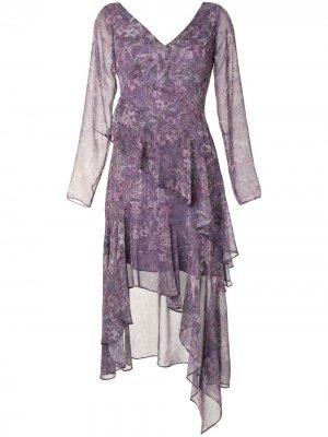 Платье миди с цветочным принтом Marchesa Notte. Цвет: фиолетовый