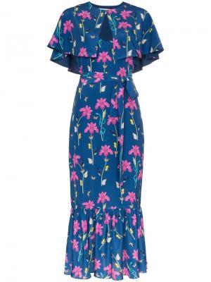 Креповое платье Margarita в стилистике кейпа с цветочным принтом Borgo De Nor. Цвет: синий
