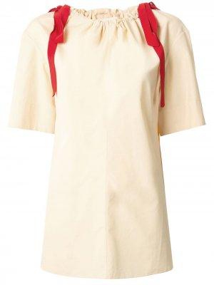 Блузка с воротником на шнурке Marni. Цвет: желтый