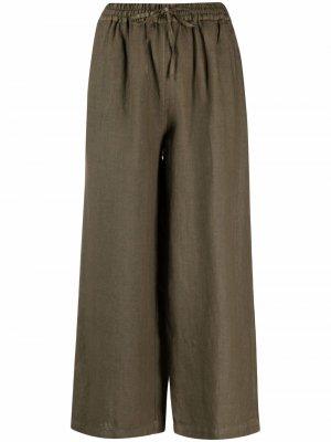 Укороченные брюки широкого кроя 120% Lino. Цвет: зеленый