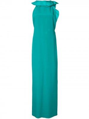 Вечернее платье без рукавов с оборками Gucci Pre-Owned. Цвет: синий