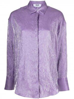 Рубашка с длинными рукавами и эффектом металлик MSGM. Цвет: фиолетовый