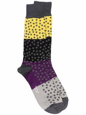 Носки в стиле колор-блок с узором горох PAUL SMITH. Цвет: серый