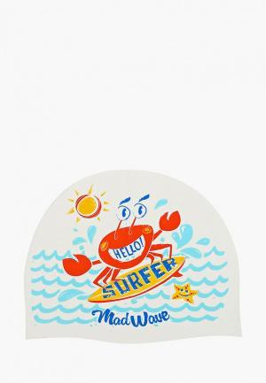 Шапочка для плавания MadWave. Цвет: белый