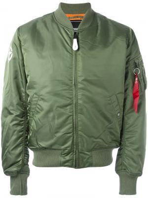 Куртка-бомбер на молнии Alpha Industries. Цвет: зеленый
