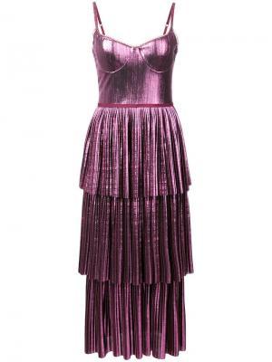 Pleated midi dress Marchesa Notte. Цвет: фиолетовый
