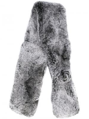 Меховой шарф N.Peal. Цвет: серый