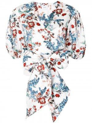 Блузка с пышными рукавами и цветочным принтом Erdem. Цвет: белый