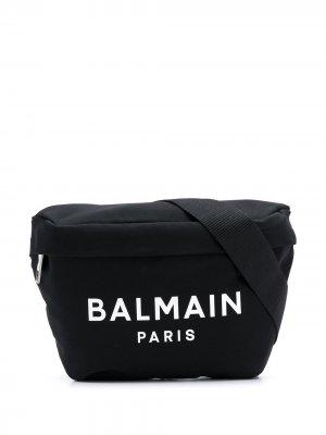 Поясная сумка с логотипом Balmain. Цвет: черный