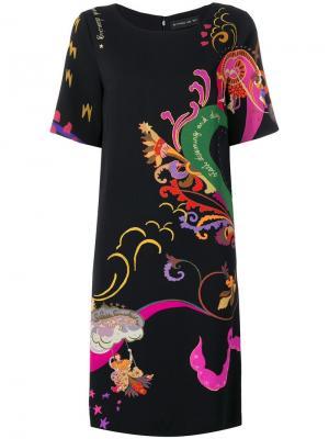 Платье с короткими рукавами принтом Etro. Цвет: черный