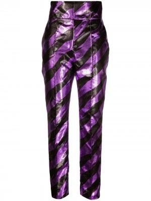Полосатые брюки с завышенной талией Alexandre Vauthier. Цвет: фиолетовый