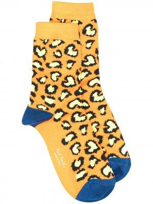 Носки с леопардовым принтом Paul Smith. Цвет: оранжевый