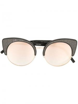 Солнцезащитные очки в оправе кошачий глаз с блестками Matthew Williamson. Цвет: металлик