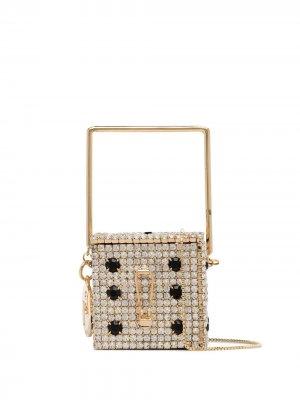 Декорированная мини-сумка Smorfia Rosantica. Цвет: золотистый