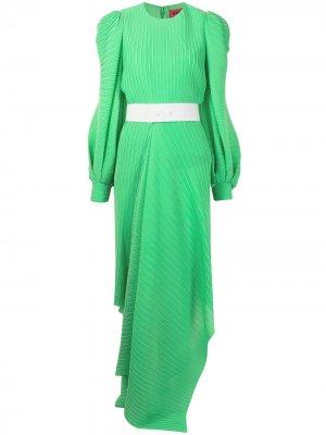 Плиссированное платье макси с поясом Solace London. Цвет: зеленый