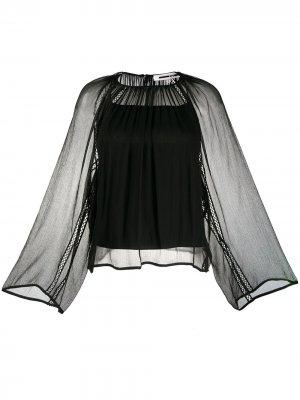 Полупрозрачная блузка с вышивкой McQ Swallow. Цвет: черный