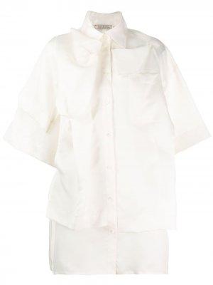 Многослойная рубашка с короткими рукавами Nina Ricci. Цвет: нейтральные цвета