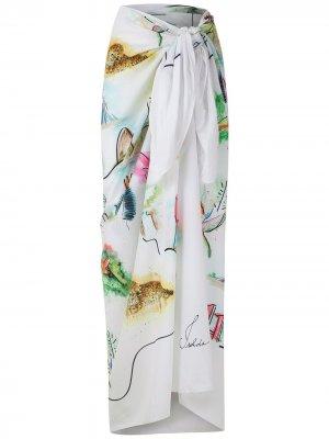 Пляжная юбка Paquistão с принтом Isolda. Цвет: белый