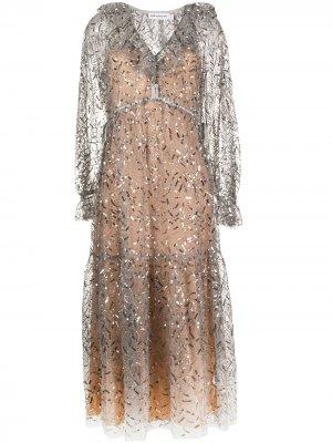 Декорированное платье миди Self-Portrait. Цвет: серый