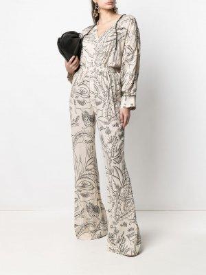 Расклешенные брюки с принтом Aeron. Цвет: нейтральные цвета