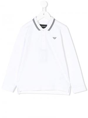 Contrast-trim polo shirt Emporio Armani Kids. Цвет: белый