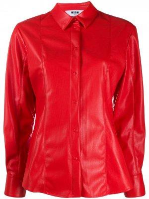 Рубашка из искусственной кожи со вставками MSGM. Цвет: красный