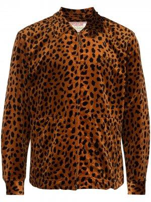 Бомбер с леопардовым принтом Wacko Maria. Цвет: коричневый