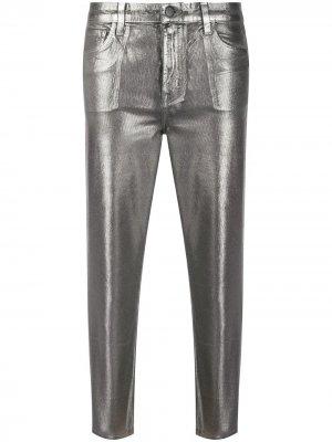Укороченные брюки с эффектом металлик J Brand. Цвет: серый