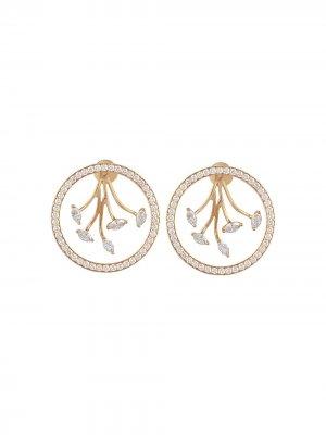 Серьги-кольца Mogra из желтого золота с бриллиантами Ananya. Цвет: золотистый