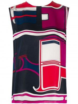 Блузка без рукавов с геометричным принтом Hermès. Цвет: красный