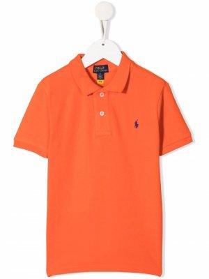 Рубашка поло с вышитым логотипом Ralph Lauren Kids. Цвет: оранжевый
