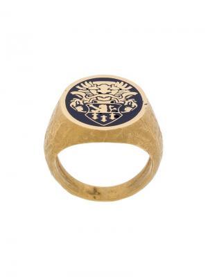 Перстень с принтом эмблемы Andrea D'amico. Цвет: золотистый