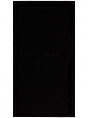 Полотенце с тисненым логотипом Balmain. Цвет: черный