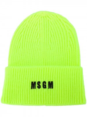 Шапка бини в рубчик с вышитым логотипом MSGM. Цвет: желтый