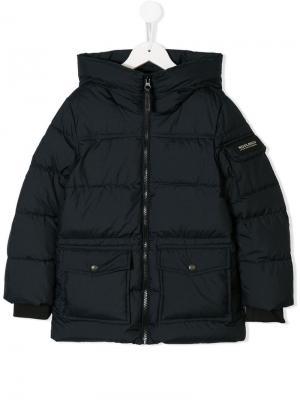 Дутое пальто с фирменной нашивкой на рукаве Woolrich Kids. Цвет: синий