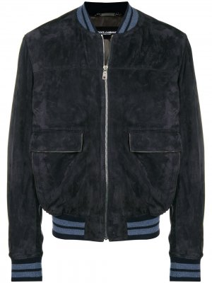 Suede ribbed trim jacket Dolce & Gabbana. Цвет: синий