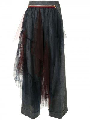 Широкие брюки со вставками из тюля Kolor. Цвет: синий
