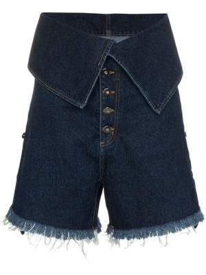Джинсовые шорты с высокой талией Marques'almeida. Цвет: синий