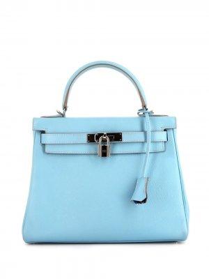 Сумка-тоут Kelly 28 2011-го года Hermès. Цвет: голубой