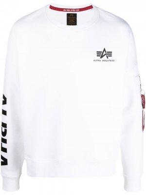 Толстовка с логотипом Alpha Industries. Цвет: белый