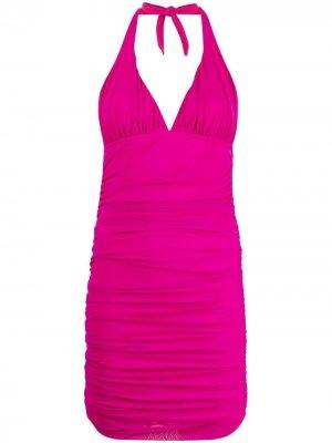 Платье мини с вырезом халтер и сборками Fisico. Цвет: розовый