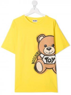 Футболка с принтом Teddy Bear Moschino Kids. Цвет: желтый